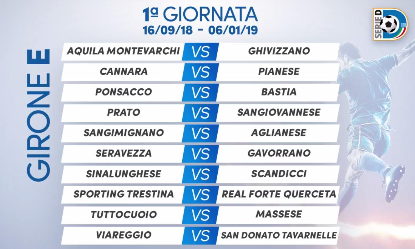 San Donato Calendario.Serie D Calendario 2018 19 San Donato Tavarnelle Esordio