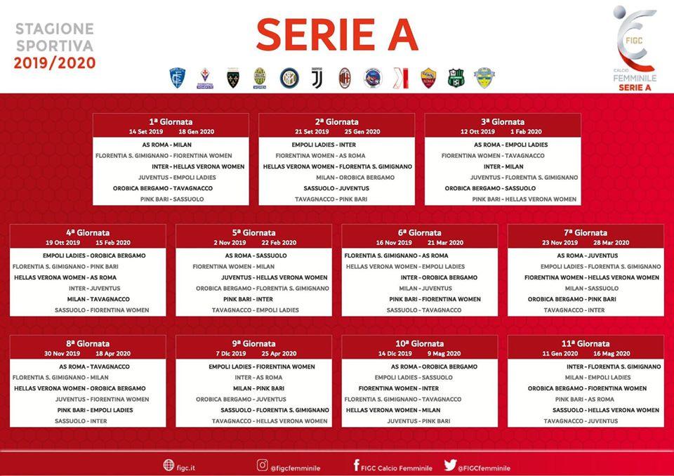 Calendario Serie A 1 Giornata.Serie A Femminile Il Calendario Regala Subito Il Super
